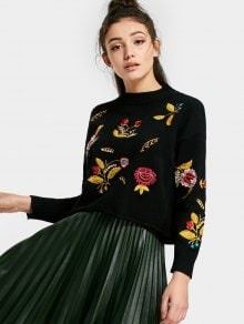 Floral Patched Drop Shoulder Sweater