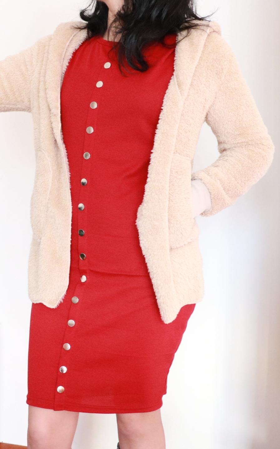 acquisti manzara, giacca peluche, mini vestito