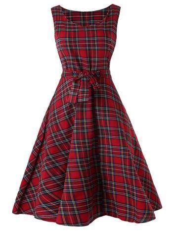 Sleeveless Tartan Skater Dress