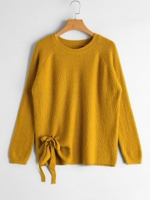 Raglan Sleeve Bowknot Sweater