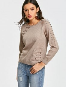 High Low Beaded Sweater With Pocket