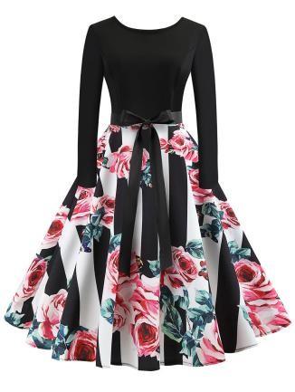 Vintage Printed Flare Dress