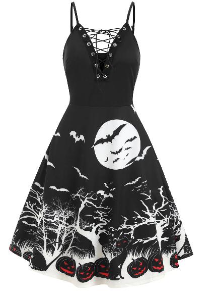 Pumpkin Bat Halloween Cami Dress