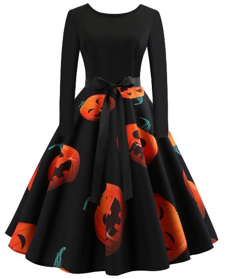 outfit for halloween, pumpkin dress
