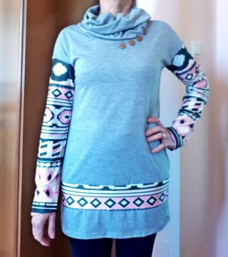 Stylish Cowl Neck Long Sleeve Button Design Printed Women's Sweatshirt dresslily