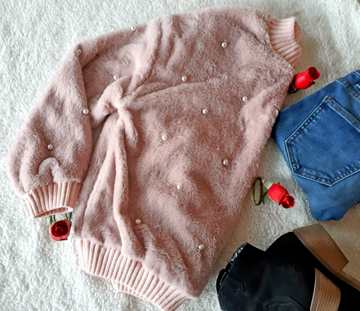 Felpa in simil montone shearling , maglione, zaful