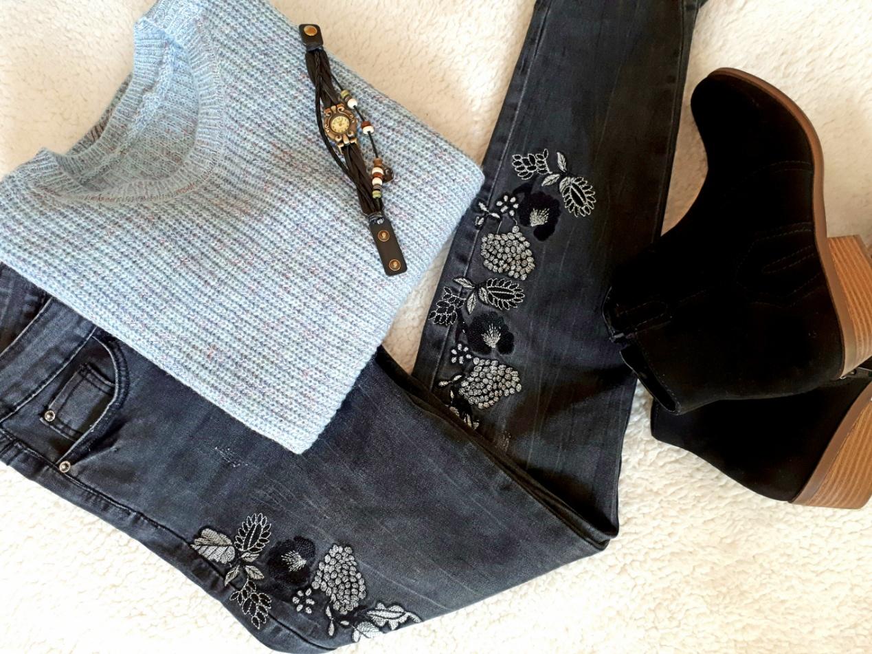 jeans con ricami floreali zaful