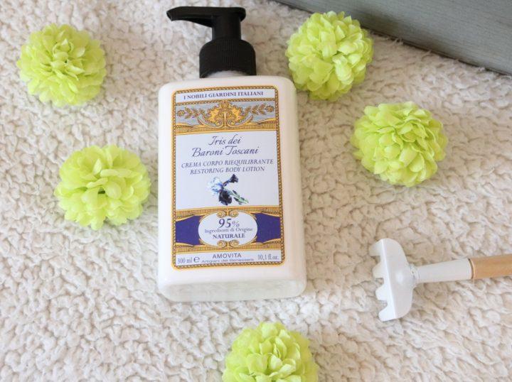 crema corpo riequilibrante amovita, iris dei baroni toscani