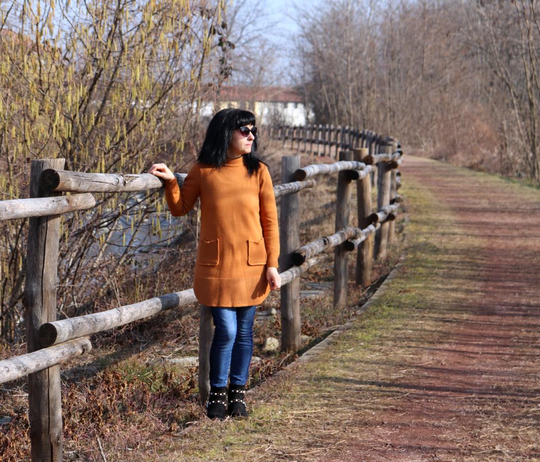 maglione lungo, maglione color bronzo, rosegal