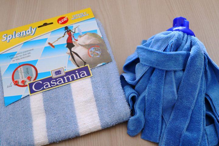 Mop microfibra filo tagliato Speedy blu casamia, Panno pavimenti in cotone e microfibra