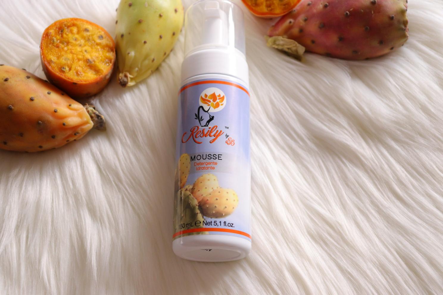 mousse detergente ai fichi d'india resily, cosmetici a base di fico d'india