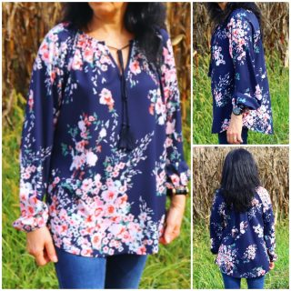 Blouse with floral print shopping on Dear Lover
