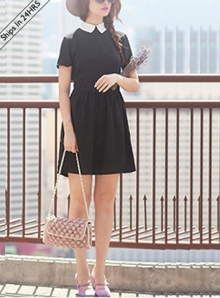 vestito di chiffon nero, choies, sleeve chiffon dress black